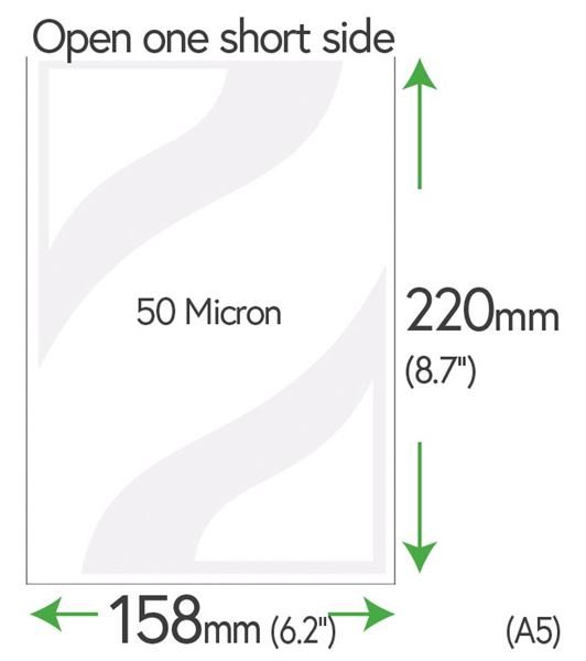220mm x 158mm Polyester Clear Pockets 50 Micron (A5)