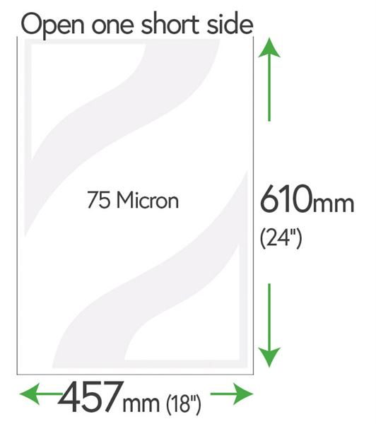 610mm x 457mm Clear Pockets 75 Micron