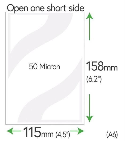 158mm x 115mm Clear Pockets 50 Micron (A6 +5mm) 565-650