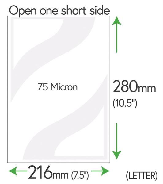 280mm x 216mm Clear Pockets 75 Micron (Letter Size)