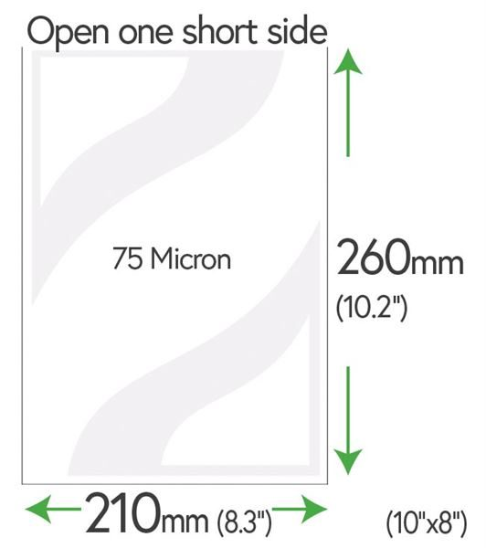 "260mm x 210mm Clear Pockets 75 Micron (10"" x 8""+5mm)"