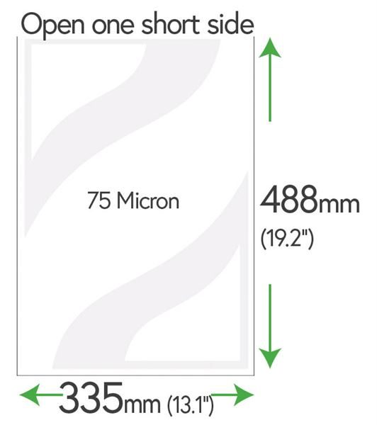 488mm x 335mm Clear Pockets 75 Micron