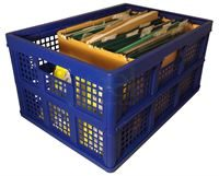 blue collapsible crate full
