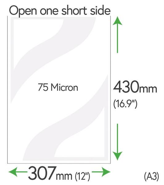 430mm x 307mm Clear Pockets 75 Micron (A3 +10mm)