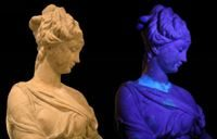 Inspecting works of art with UV light