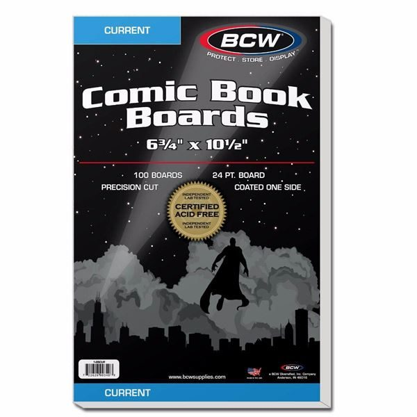Comic book boards for current and modern comic storage