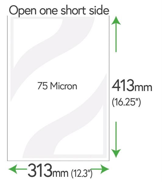 "413mm x 313mm (16"" x 12""+) Clear Pockets 75 Micron"