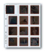 Holds twelve 6x6cm frames of 120 mounted or unmounted transparencies or negatives